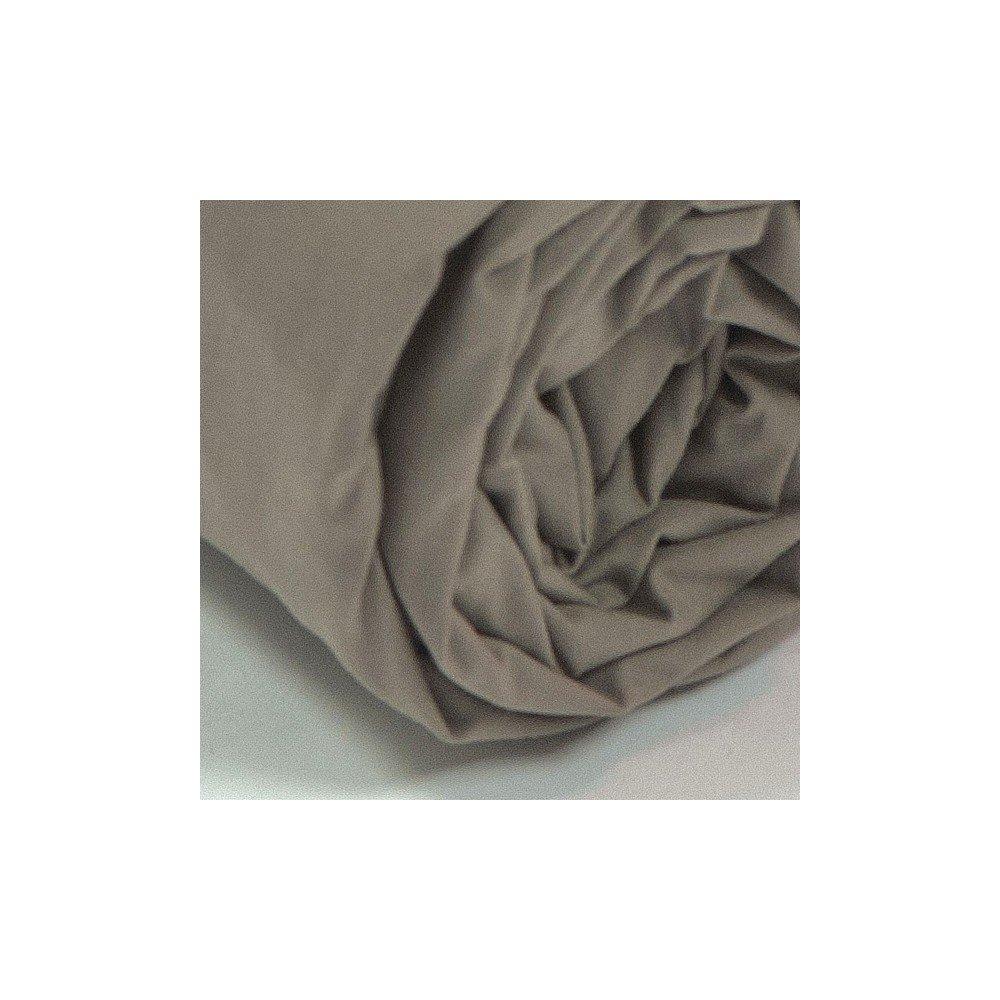 Drap housse satin de coton taupe for Drap housse satin