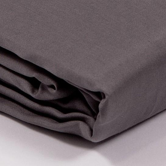 drap plat satin de coton gris. Black Bedroom Furniture Sets. Home Design Ideas