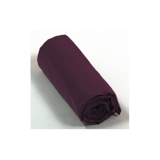 Drap housse percale Prune