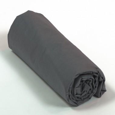 Drap housse satin de coton gris