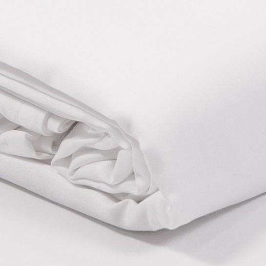 Drap plat satin de coton Blanc